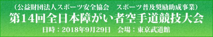 公益財団法人スポーツ安全協会 スポーツ普及奨励助成事業 第14回全日本障がい者空手道競技大会 2018年9月29日 東京武道館